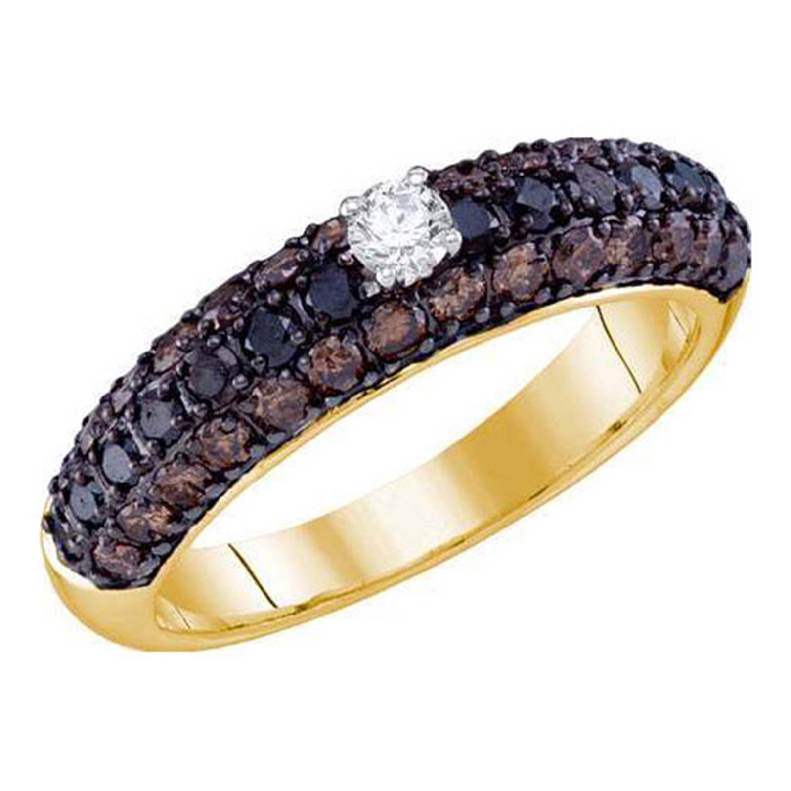 Ladies 10KT Yellow Gold Champagne Brown Diamod Engagement Bridal Band 1.16CT