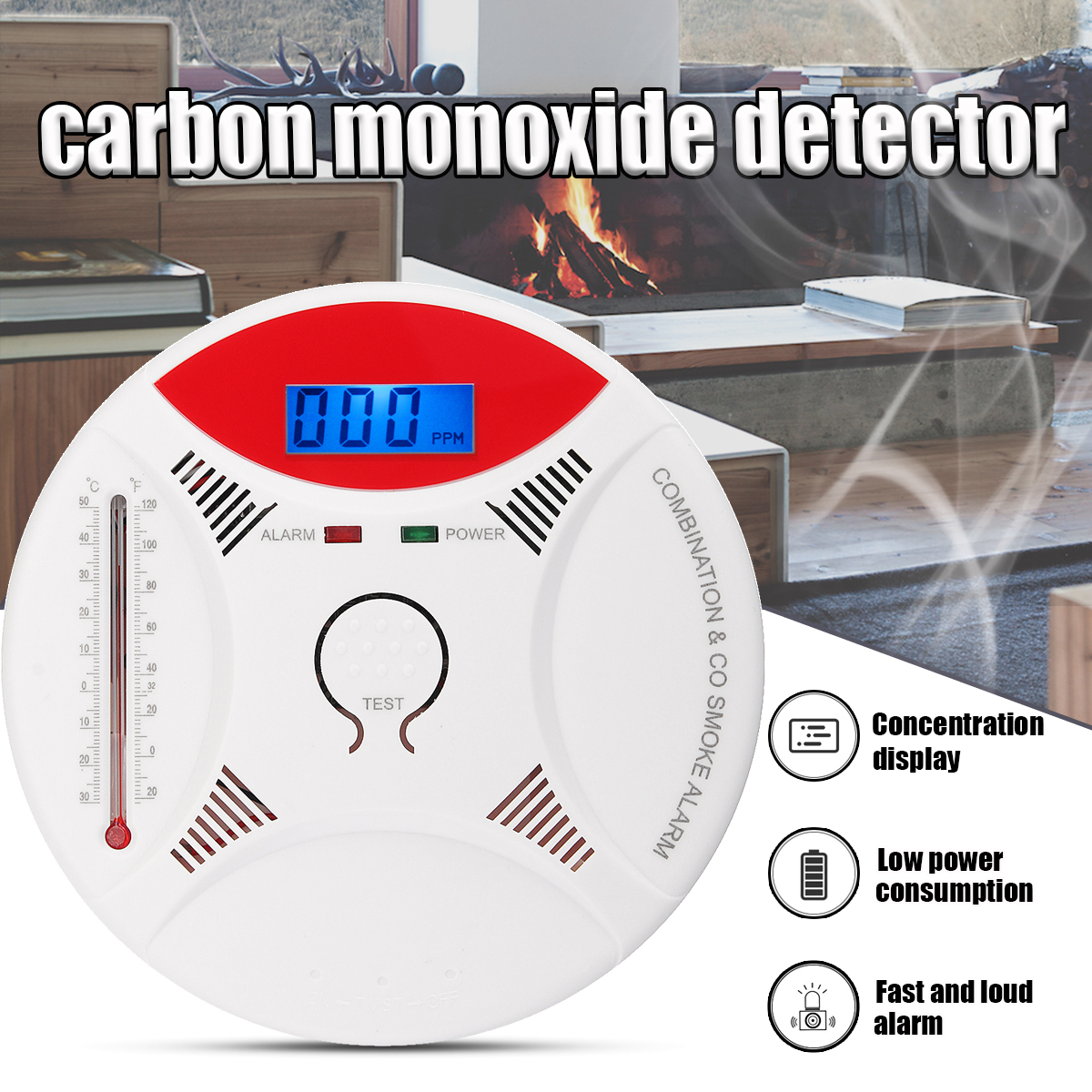Combination Smoke and Carbon Monoxide Detector With thermometer for Home, Travel Portable Fire & Co Alarm Battery Operated with Sound Warning and Digital Display