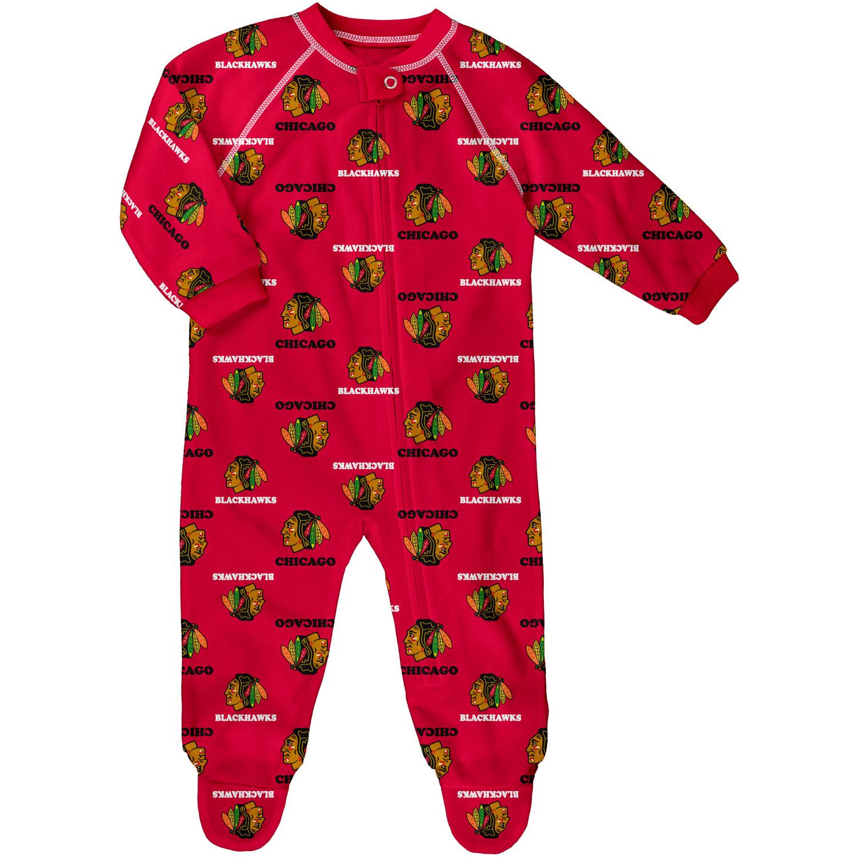 Infant Red Chicago Blackhawks Allover Print Raglan Sleeper