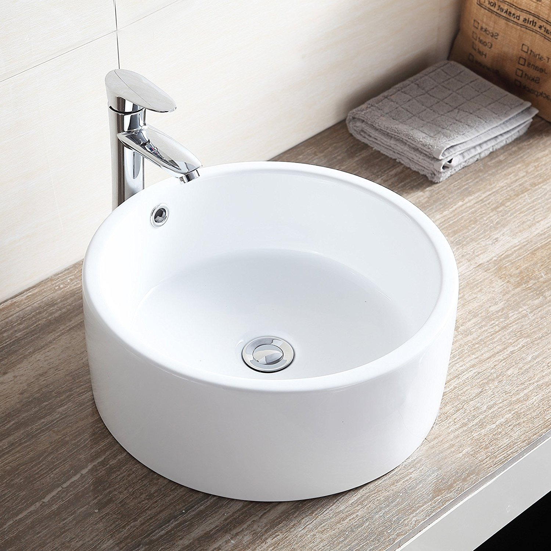 Buy Ainfox White Porcelain Ceramic Basin Vessel Vanity Sink Ceramic Basin W  Pop up Drain... by Ainfox