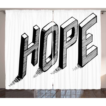 Hope Curtains 2 Panels Set, Sketch Letters with Stripes Spelling Hope Hand Drawn Calligraphic Arrangement, Window Drapes for Living Room Bedroom, 108W X 96L Inches, Black and White, by Ambesonne
