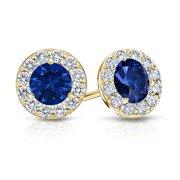 Fine Jewelry Vault UBUERBK150AGVYCZS September Birthstone Sapphire and CZ Halo Stud Earrings 18K Yellow Gold Vermeil 1.50 CT TGW