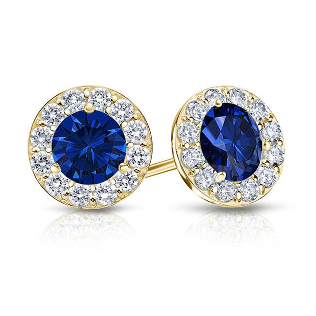 Fine Jewelry Vault UBUERBK150AGVYCZS September Birthstone Sapphire and CZ Halo Stud Earrings 18K Yellow Gold Vermeil 1.50 CT TGW