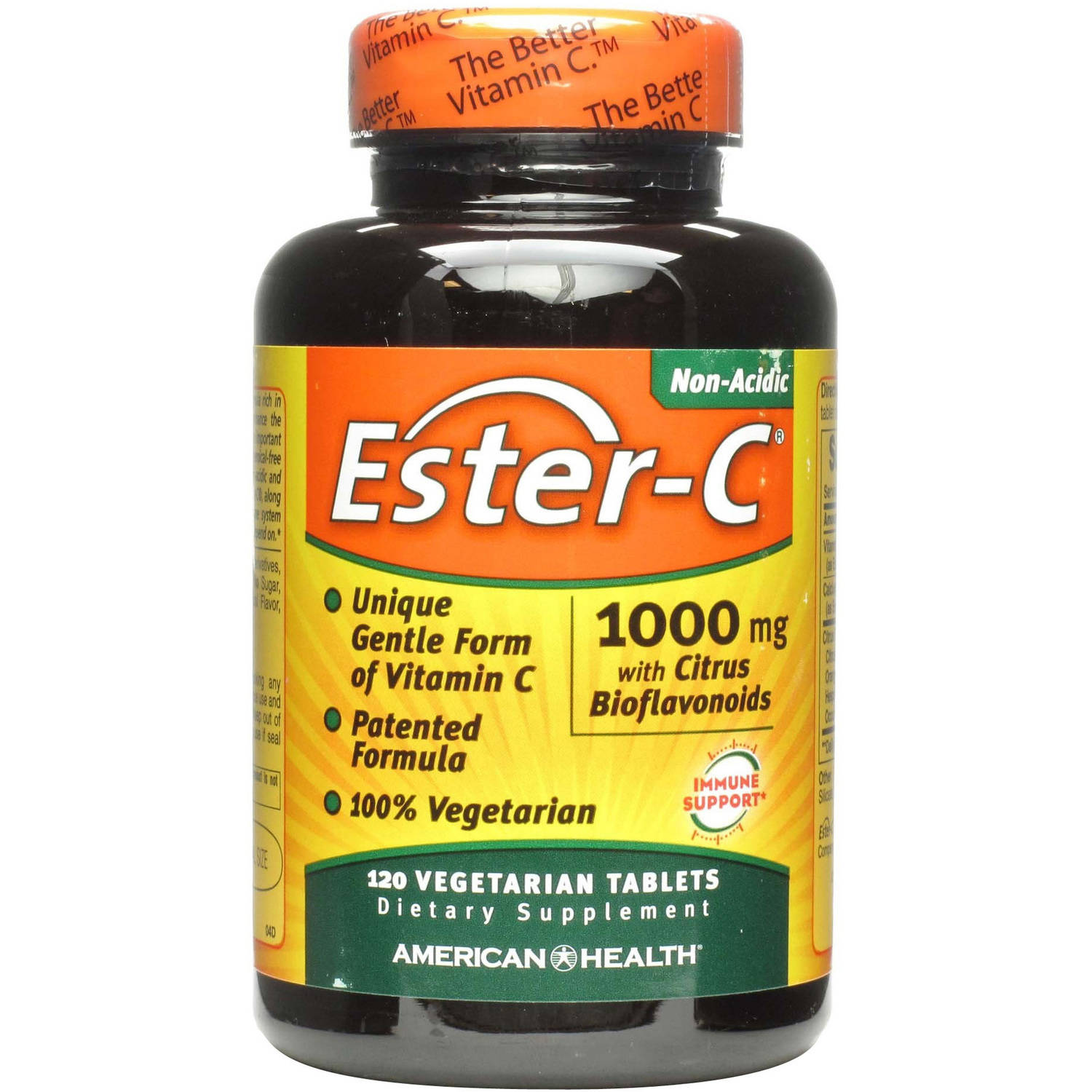 American Health Ester-C Dietary Supplement Vegetarian Tablets, 1000mg with Citrus Bioflavonolds, 120 CT