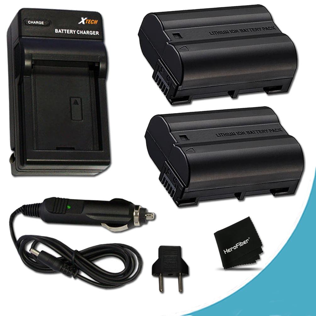 2 High Capacity Replacement Nikon EN-EL15 Batteries And 1 AC/DC Quick Charger Kit f/ Nikon D750 D7200, D7100, D7000, D810, D810A, D800, D800E, D600, D610, 1V DSLR Cameras