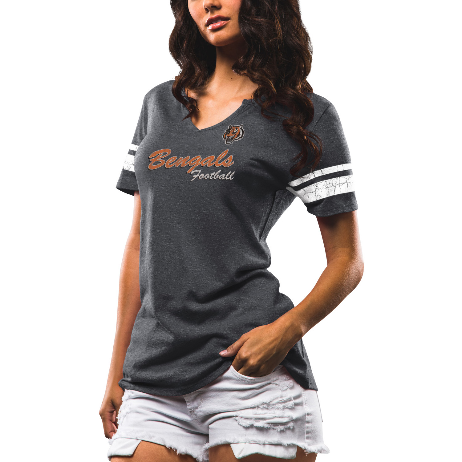 Women's Majestic Charcoal Cincinnati Bengals Game Tradition Tri-Blend V-Neck T-Shirt