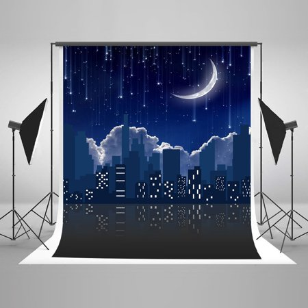 GreenDecor Polyster 5x7ft Night City Photography Backdrops Starry Sky with Moon Background for Photo Studio Props](Full Moon Background)