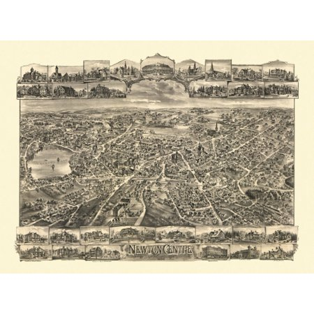 Antique Map of Newton Centre Massachusetts 1897 Middlesex County Poster (Middlesex Shopping Center Stores)