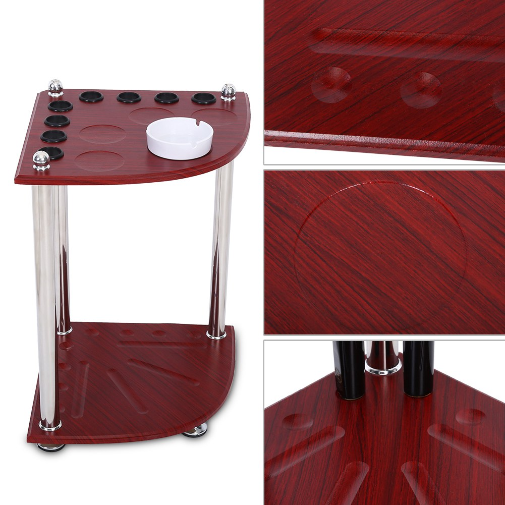 Wood Pool Cue Rack Stick Holder Floor Stand Holder Billiard Table with Ashtray
