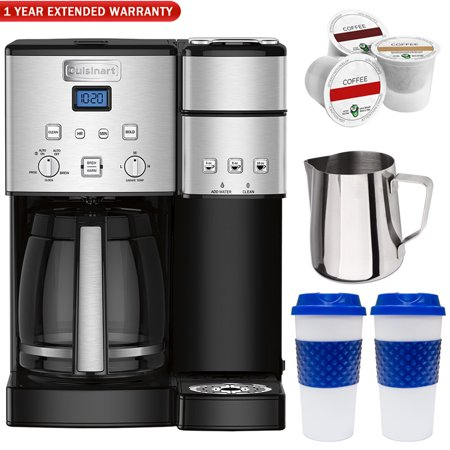 Cuisinart 12 Cup Coffeemaker and Single Serve Brewer Refurbished (SS-15FR) + 12oz. Milk Frothing Pitcher + 2x 16oz. To Go Mug + Bonus K-Cup Sample Pack + 1 Year Extended (1 2 Cup Coconut Milk In Ml)