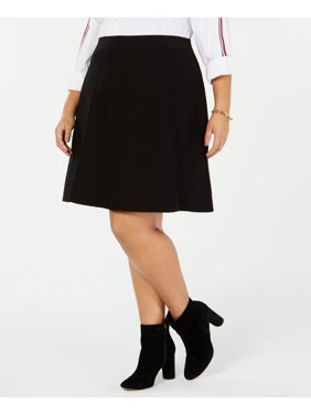 TOMMY HILFIGER Womens Black Sweater Above The Knee A-Line Skirt Plus  Size: 1X