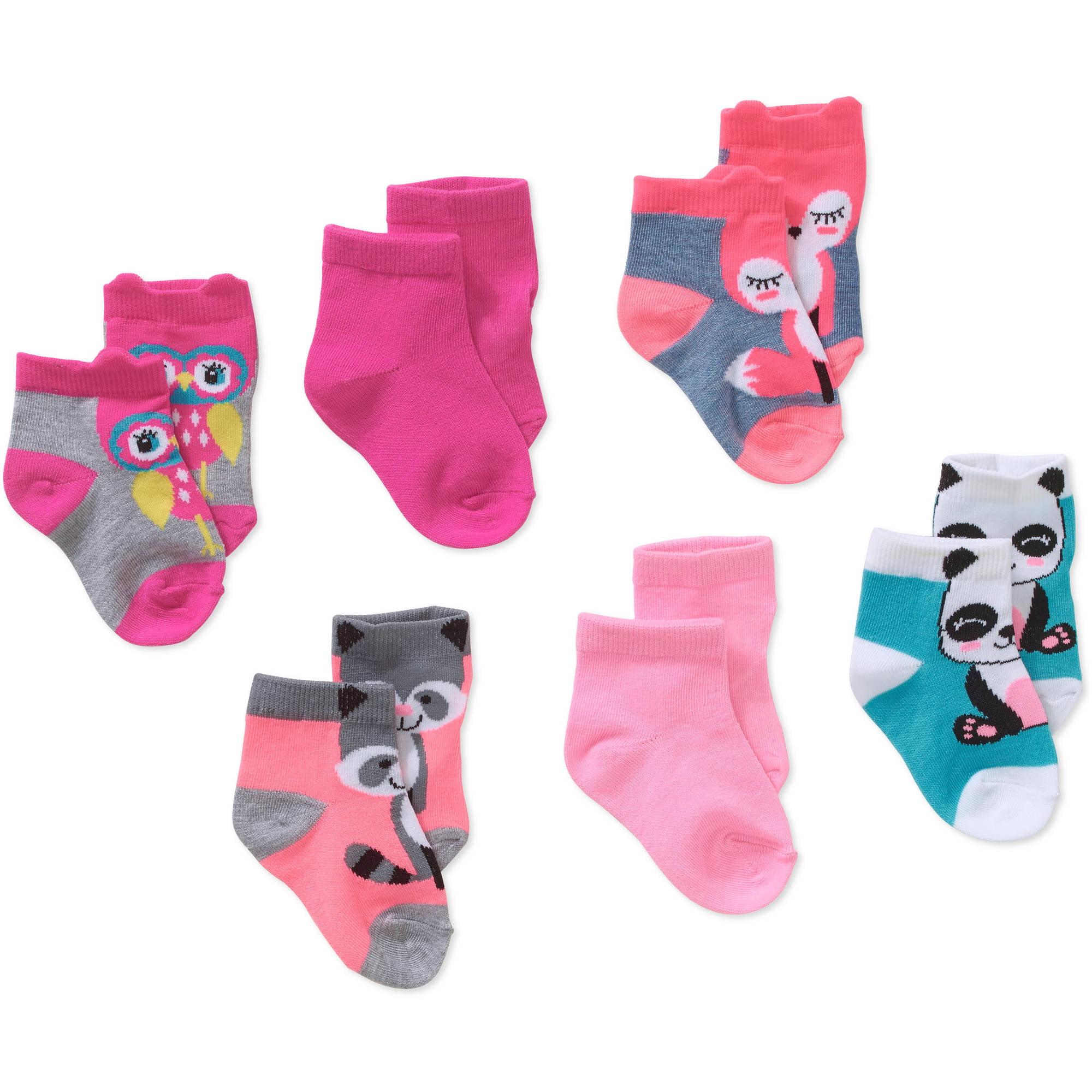 Girls 0-6 month socks pink flowers Garanimals