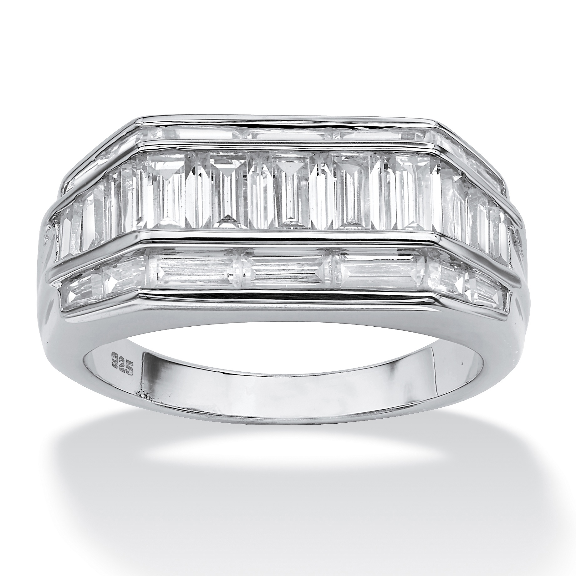 Men's 3.82 TCW Baguette Cut Cubic Zirconia Platinum over Sterling Silver Classic Ring by PalmBeach Jewelry