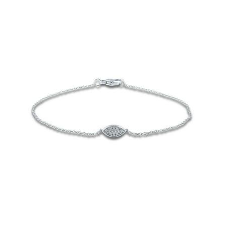 14k White Gold 1/20 Cttw Diamond Oval Station Bracelet