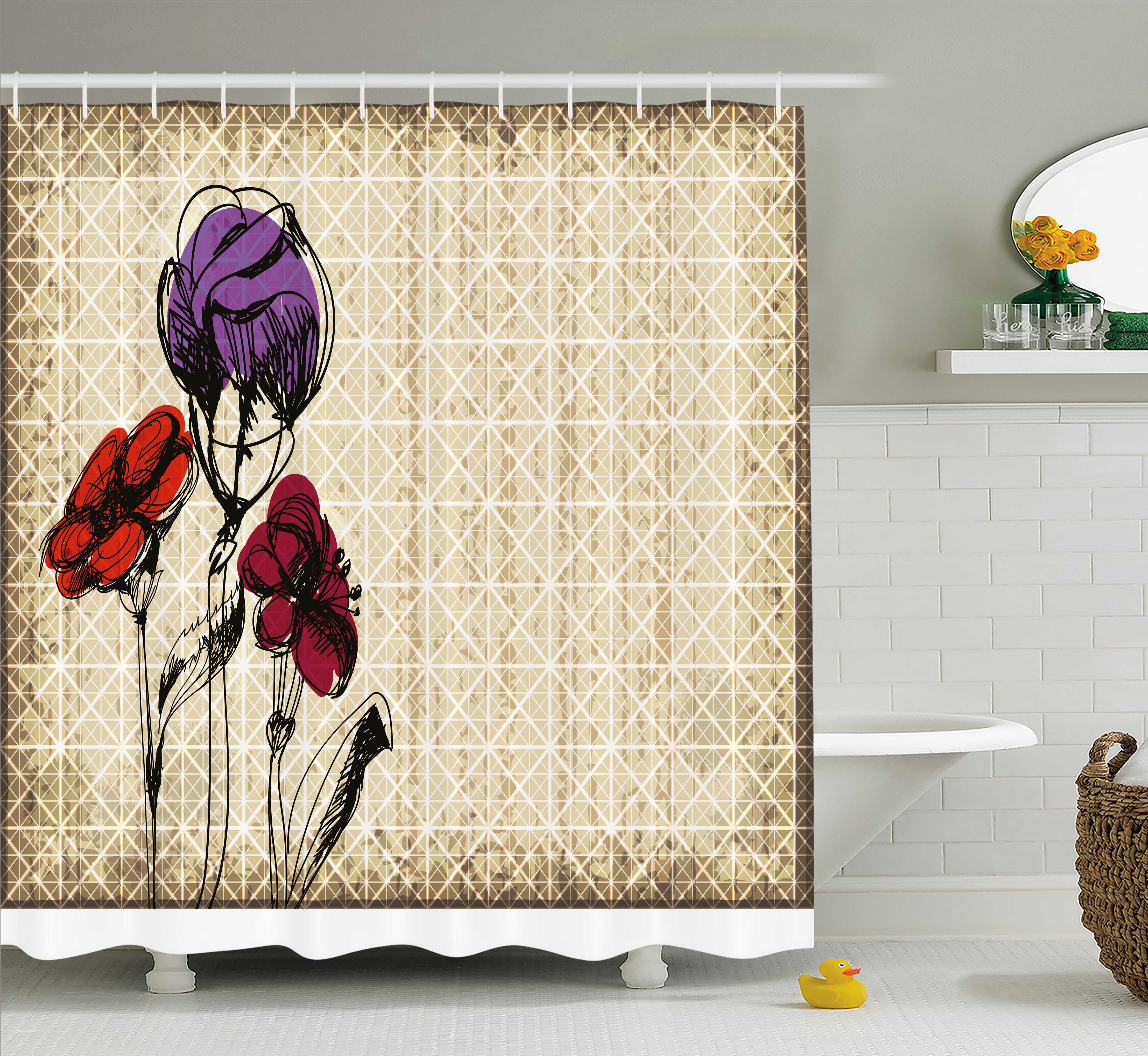 Floral Shower Curtain, Sketchy Flower Petals with Grunge Effects Blooms Florets Illustration, Fabric Bathroom Set with Hooks, 69W X 75L Inches Long, Tan Maroon Purple Red, by Ambesonne