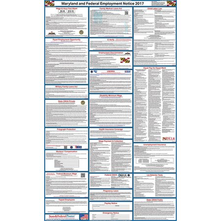 2017 Maryland State And Federal Labor Law Poster  Laminated