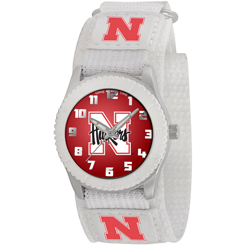 Game Time NCAA Kids' University of Nebraska Cornhuskers Rookie Series Watch, White Velcro Strap
