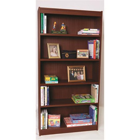 Norsons Industries MH72125 Essentials Laminate Bookcase with 1 in. Thick Adjustable Steel Reinforced Shelves, Mahogany - 72 in. ()