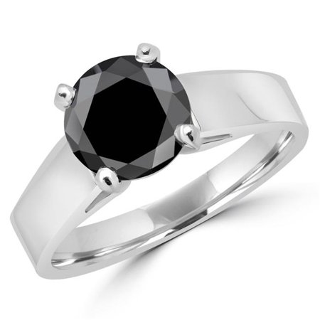 - MD160317-P 1.75 CT Classic Solitaire 4-Prong Round Black Diamond Engagement Ring in 14K White Gold