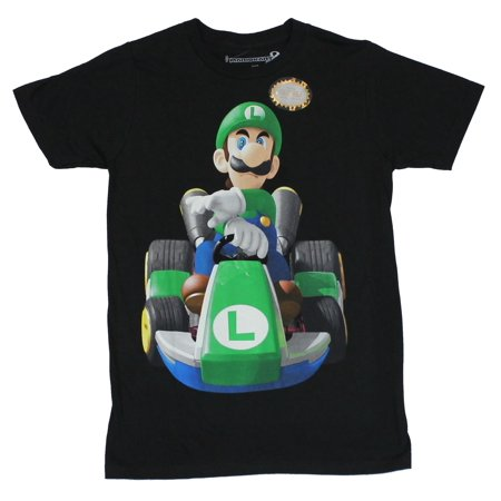 - Mario Kart (Nintendo) Mens T-Shirt -Determined Luigi at the Wheel Image (X-Large, X-Large)