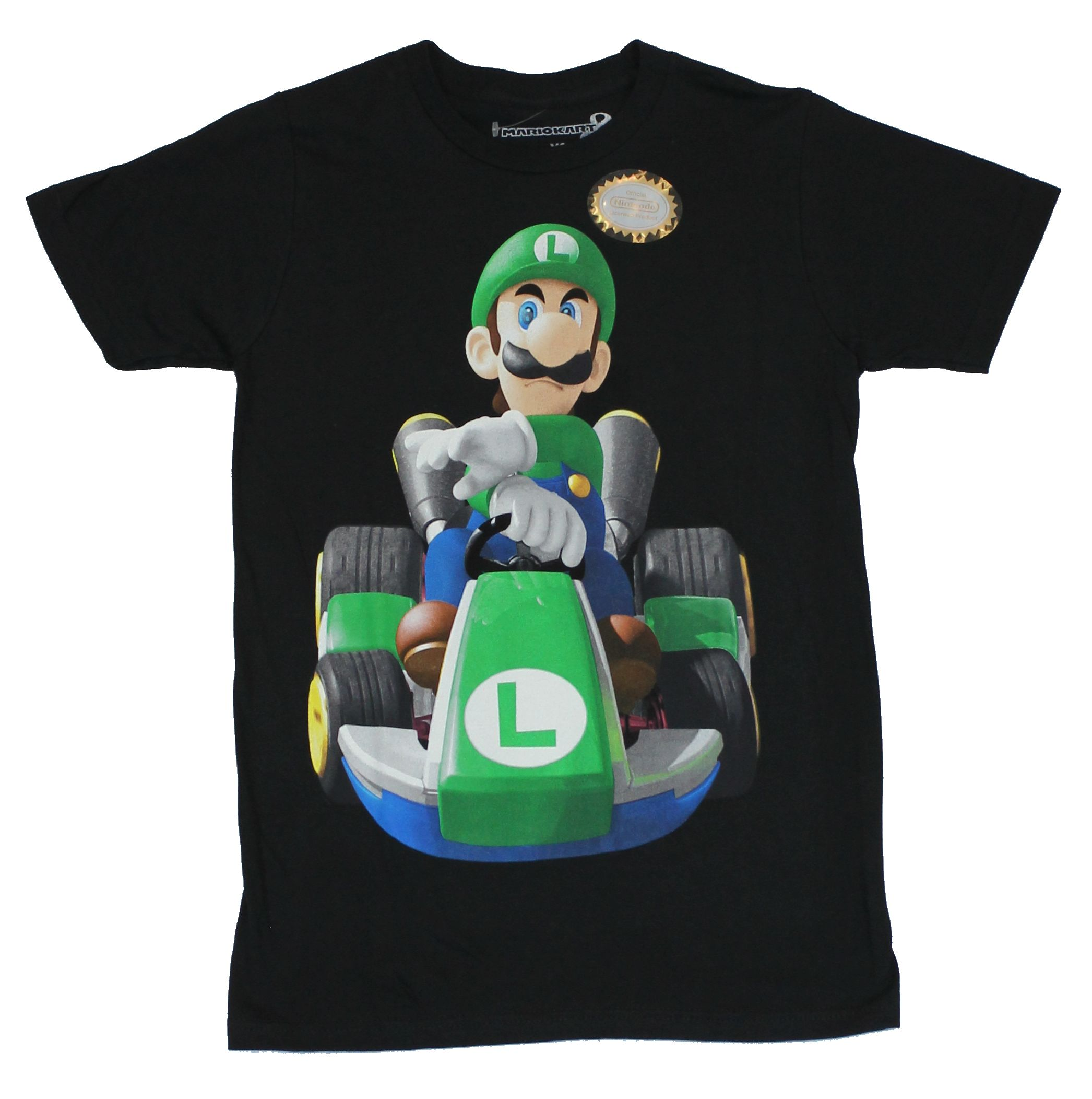 Mario Kart (Nintendo) Mens T-Shirt -Determined Luigi at the Wheel Image