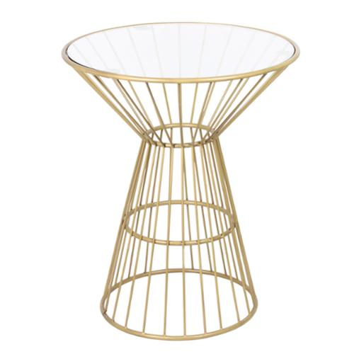 Horizon Gold Wire Framed Side Table with Glass Top