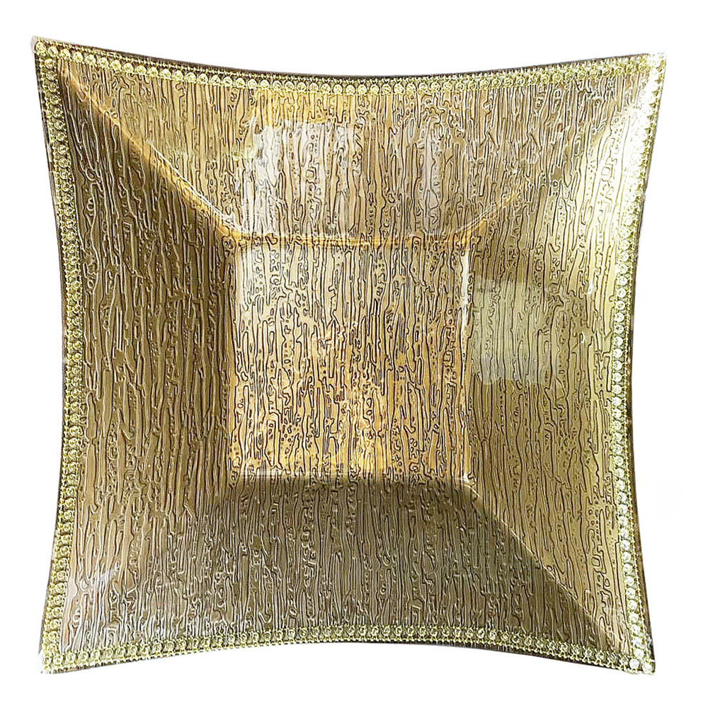 D'Lusso Designs Decorative Square Plate with Bling Gold Design - Large