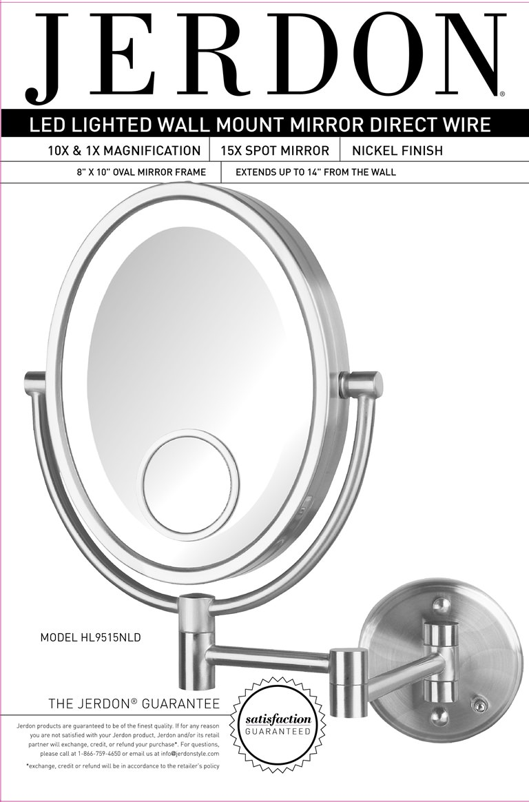 Jerdon Mounted Mirror Wiring Diagram Content Resource Of Wire Hl9515nld 10x Led Lighted Wall Direct Walmart Com Rh