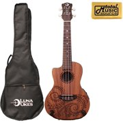 Luna Guitars A/E Concert Tattoo LEFTY w/TMS Polishing Cloth, UKE TEC MAH L PC