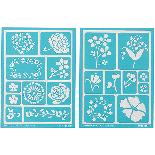 "Plaid Craft Martha Stewart Adhesive Stencils, 2 Sheets/pkg, Blossoms 5, 3/4"" x 7-3/4"", 19 Designs"
