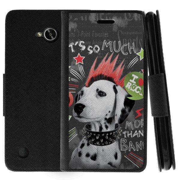 TurtleArmor ® | For LG X Power 2 | K10 Power | LV7 | Fiesta | X Charge | Fiesta 2 [Wallet Case] Leather Cover with Flip Kickstand and Card Slots - Rockstar Dog