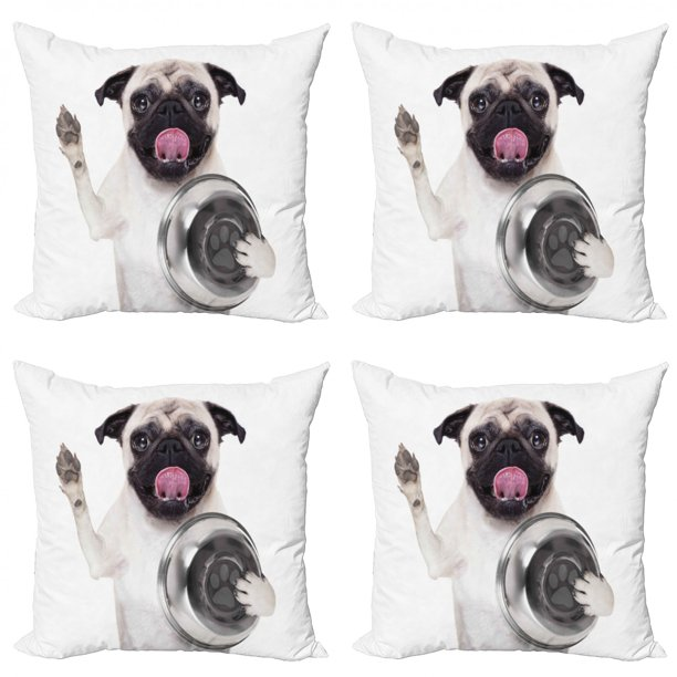 Pug Throw Pillow Cushion Case Pack Of 4 Pug Holding Food Bowl And Licking Its Lips