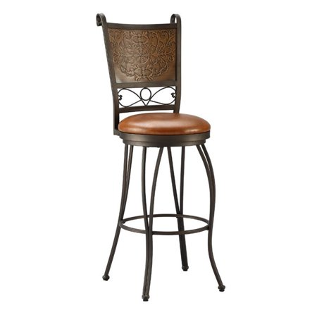 Powell Muted Copper Stamped Back Bar Stool, Bronze
