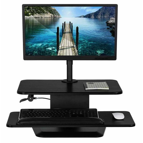 Symple Stuff Adjustable Height Standing Desk Converter with Monitor Mount Combo
