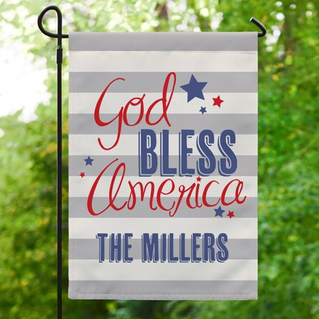 Personalized God Bless America Garden Flag, Available With or Without Stake ()