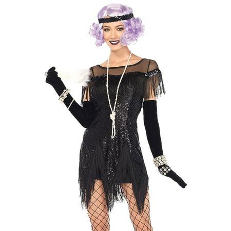 Morris Costumes Women's Sequin Flapper Foxtrot Flirt Costume Black S