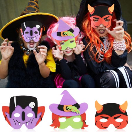 Pixnor  2 Sets of 12 Different Kinds of Patterns Soft DIY Halloween Foam Mask for Kids Children Halloween Costume - Halloween Hexe Kind