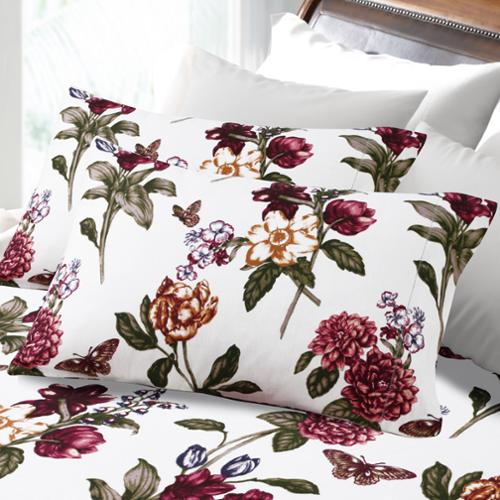 200-GSM Hemstitched Blossoms Printed Flannel Pillowcases (Set of 2) King