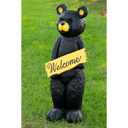 Alpine Black Bear Holding Welcome Sign Statue, 47 Inch Tall