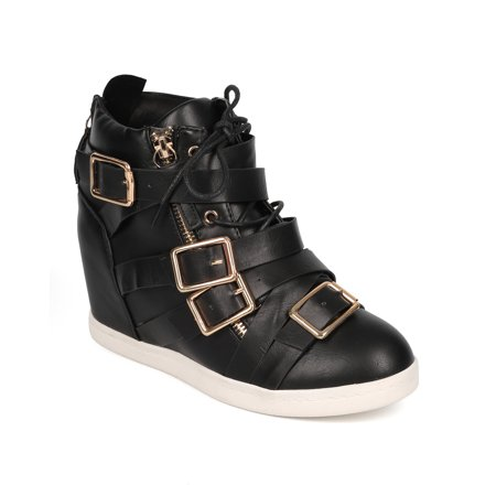 Liliana CG32 Women Leatherette Buckle Lace Up Fashion Sneaker Wedge