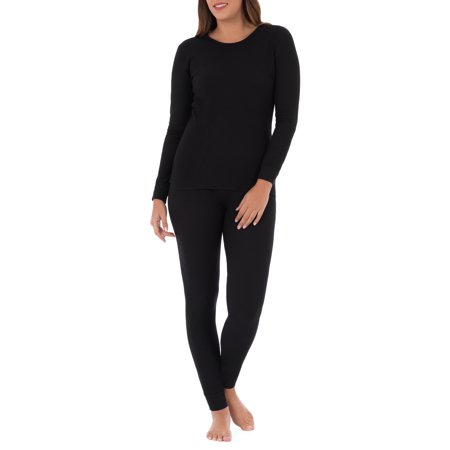 Women's and Women's Plus Waffle Thermal Undewear Crew Top and Bottom Set