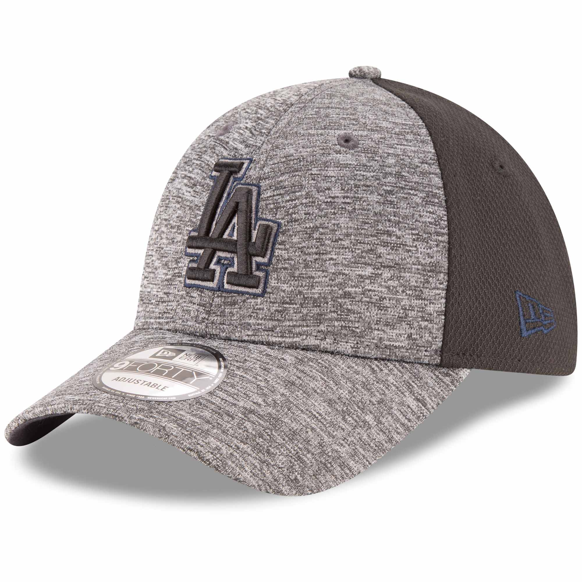 Los Angeles Dodgers New Era Shadowed Team Logo 9FORTY Adjustable Hat - Heathered Gray/Black - OSFA