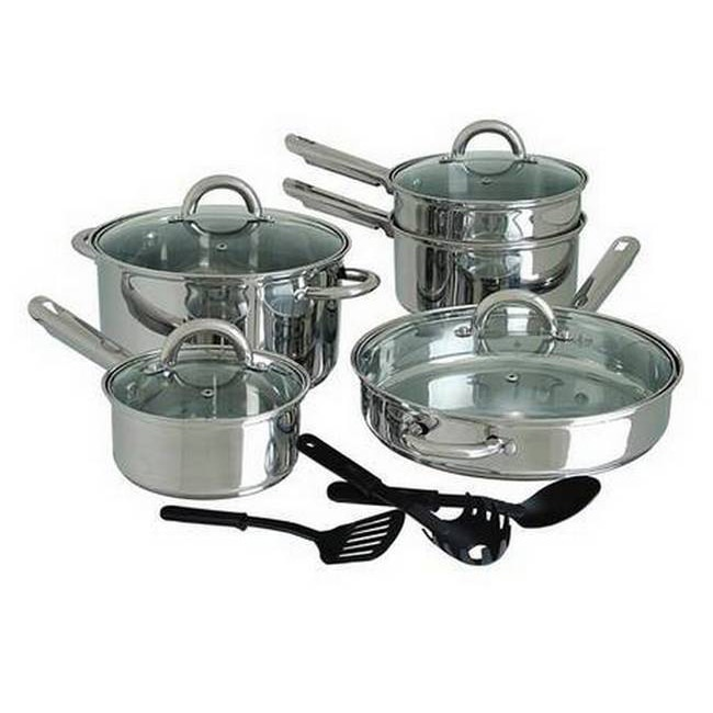 Cuisine Select Abruzzo 12-piece Stainless Steel Cookware Set by Gibson