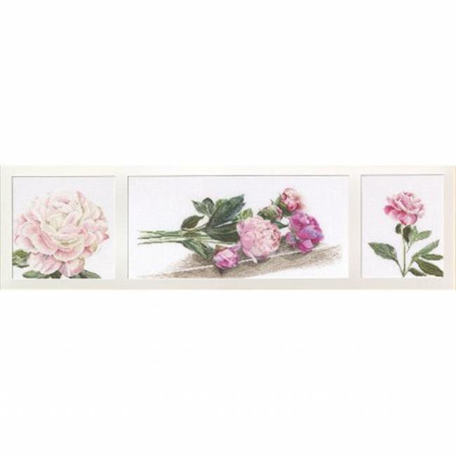 Peonies On Aida Counted Cross Stitch Kit-32-.25 in. X7-.25 in. 18 Count - image 1 de 1