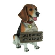 Buddy the Beagle Dog Statue with Reversible Sign