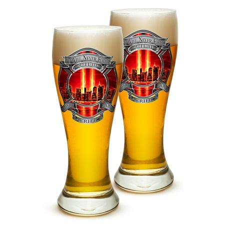 Pilsner – Firefighter Gifts for Men or Women – Red Tribute High Honor Firefighter Beer Glassware – Barware Glasses Set of 2 (23 Oz)