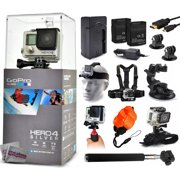 GoPro Hero 4 HERO4 Silver CHDHY-401 with Travel Charger + 2 Battery + Travel Charger + Headstrap + Chest Harness Mount + Suction Cup + Handgrip + Floaty Strap + Wrist Glove + Selfie Stick + More
