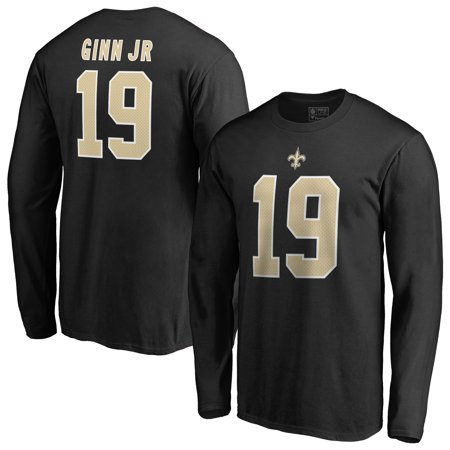 Ted Ginn Jr New Orleans Saints NFL Pro Line by Fanatics Branded Authentic Stack Name & Number Long Sleeve T-Shirt - Black