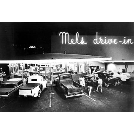 American Graffiti Classic Hot Rod Cars Pickups Mels Drive-In Diner 24x36