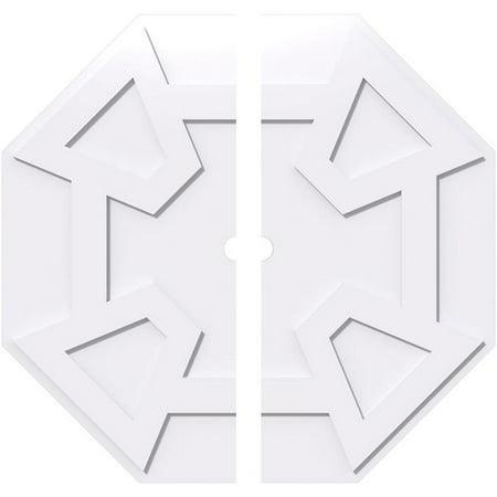 Ekena Millwork CMP38LG2-02000 38 in. OD x 2 in. ID Square Logan Architectural Grade PVC Contemporary Ceiling Medallion - 2 Piece - image 1 de 1